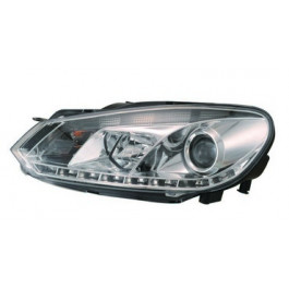 Koplampen (set) LED DRL Chrome + Motor voor Volkswagen - Golf 6 BJ: 2008-2012