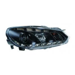 Koplampen (set) LED DRL Zwart + Motor voor Volkswagen - Golf 6 BJ: 2008-2012